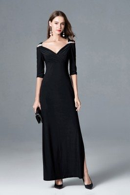 Elegant Black Long Slit V...