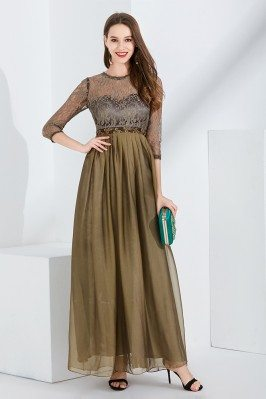 Beaded Waist Chiffon Long...