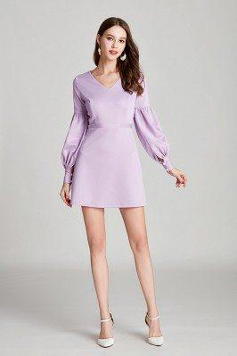 Simple V Neck Short Lilac...