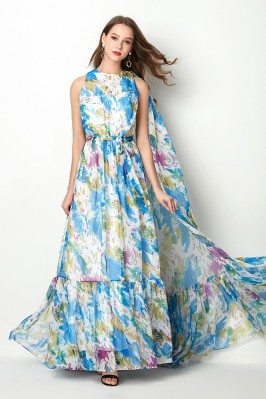 Beautiful Floral Print Blue...