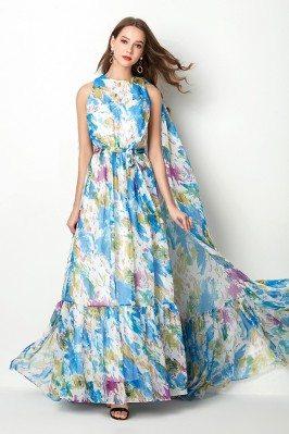 Beautiful Floral Print Blue...