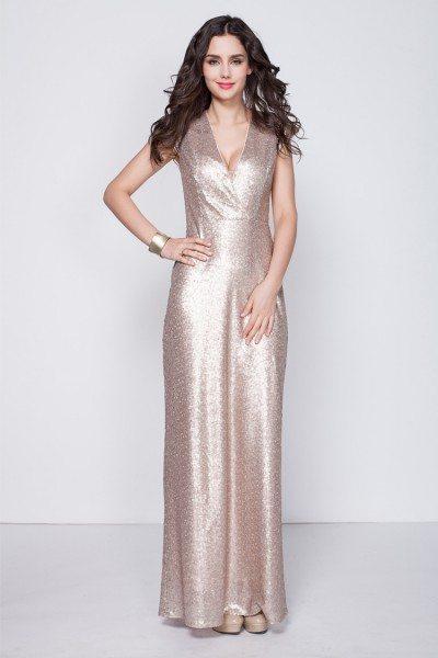 Sequin V-neck Long Party Dress
