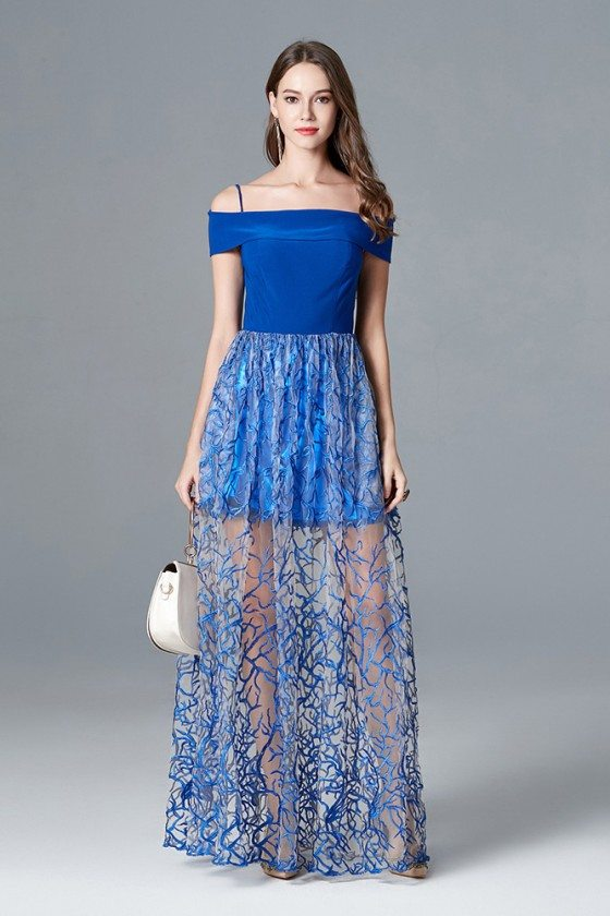 Off The Shoulder Blue Long Prom Dress With Unique Lace