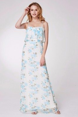 Long Blue Floral Print...