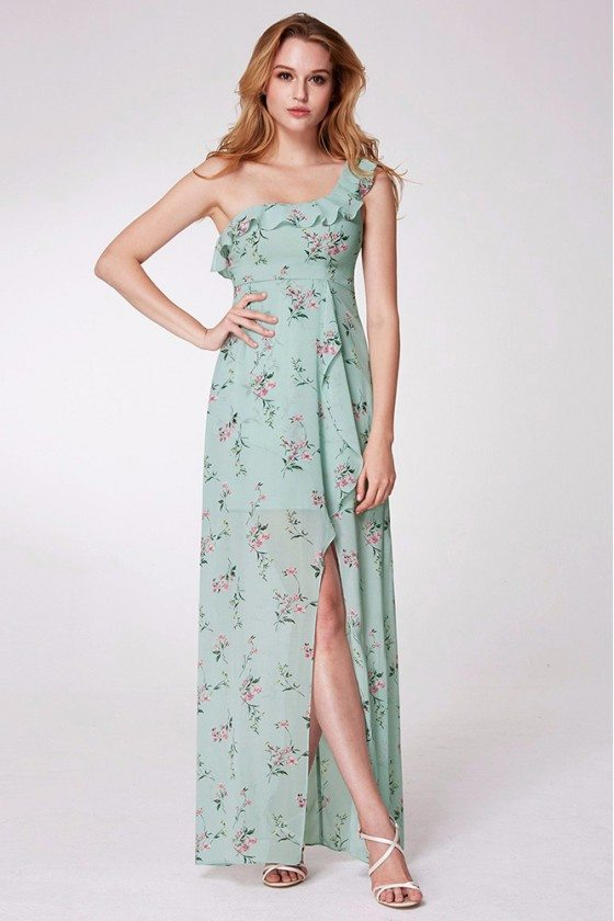 Mint Green Printed One Shoulder Prom Dress With Long Slit - EP07240MG
