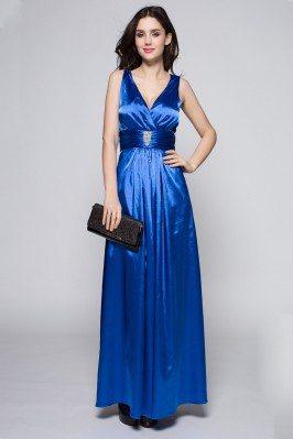 Beaded V-neck Satin Long Party Dress