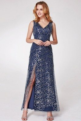 Navy Blue Long Slit...