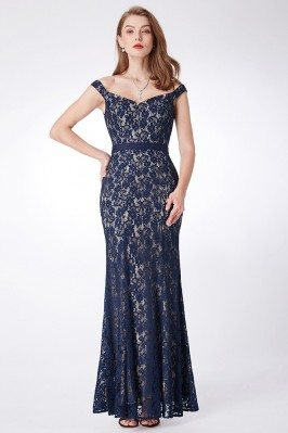 Long Mermaid Lace Navy Blue...