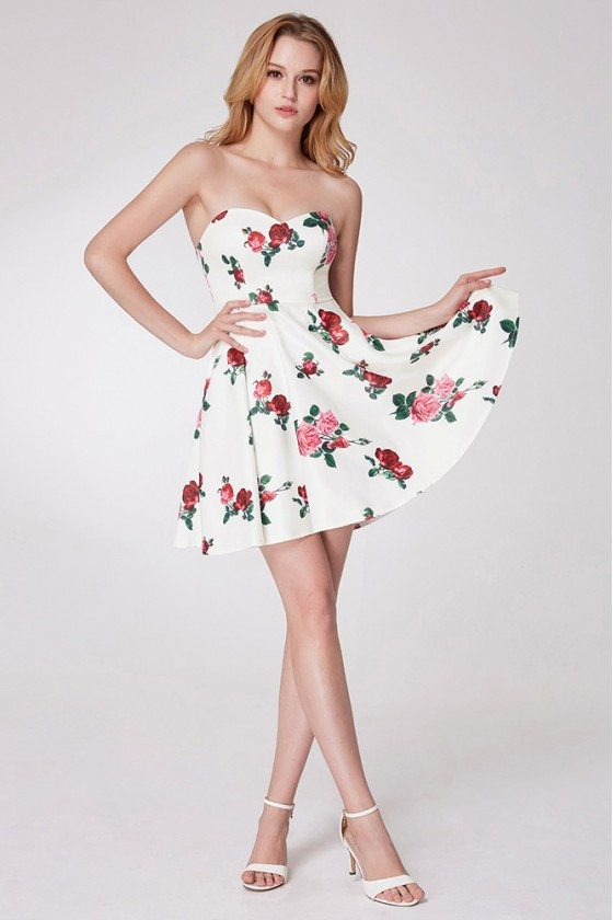 Simple Rose Printed Cocktail Little Prom Dress - EP05953WH
