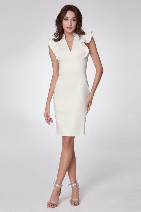 V Neck Short Cocktail Fashion Dress With Falbala Shoulder - EP05967WH