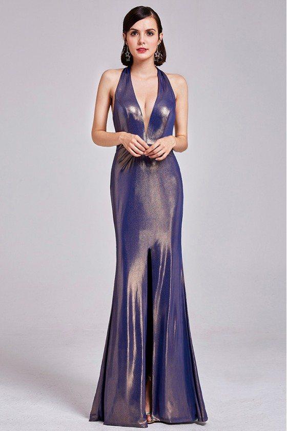 Shining Sexy Deep V Halter Purple Prom Dress Open Back - EP07206GD