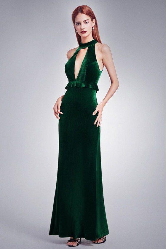 Dark Green Sexy Deep V Formal Dress With High Collar Neck