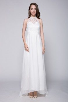 White Lace Long Halter Chiffon Dress