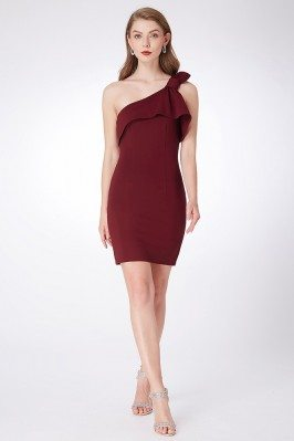 Burgundy One Shoulder Short...