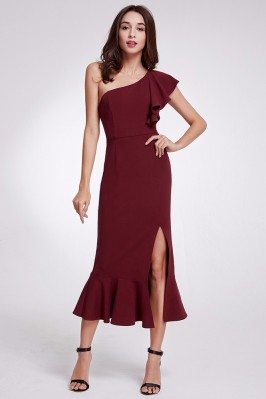 One Shoulder Burgundy...