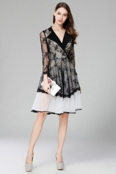 Vintage Black And White Lace Sheer Long Sleeve Short Dress