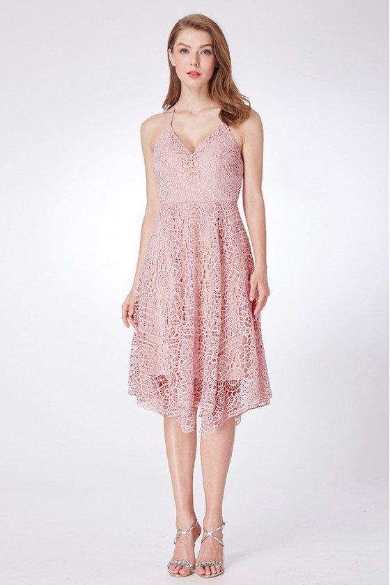 Pink Hi Low Lace Prom Dress With Spaghetti Halter Neck