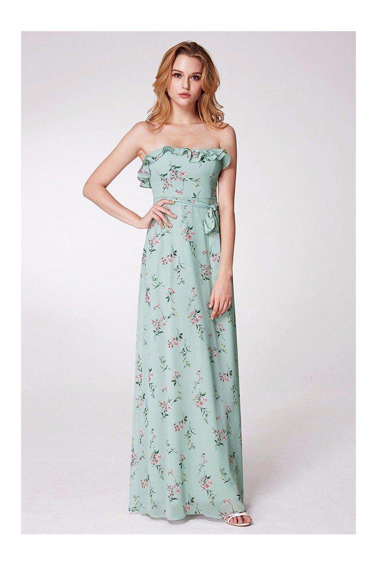 Floral Print Mint Green Bridesmaid Dress With Falbala