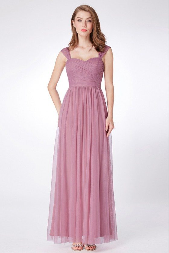 Orchid Flowy Tulle Long Bridesmaid Dress With Ruched Bodice