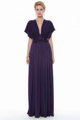 Purple Multi Style Long Chiffon Formal Dress