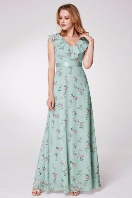 Mint Green Printed Chiffon...