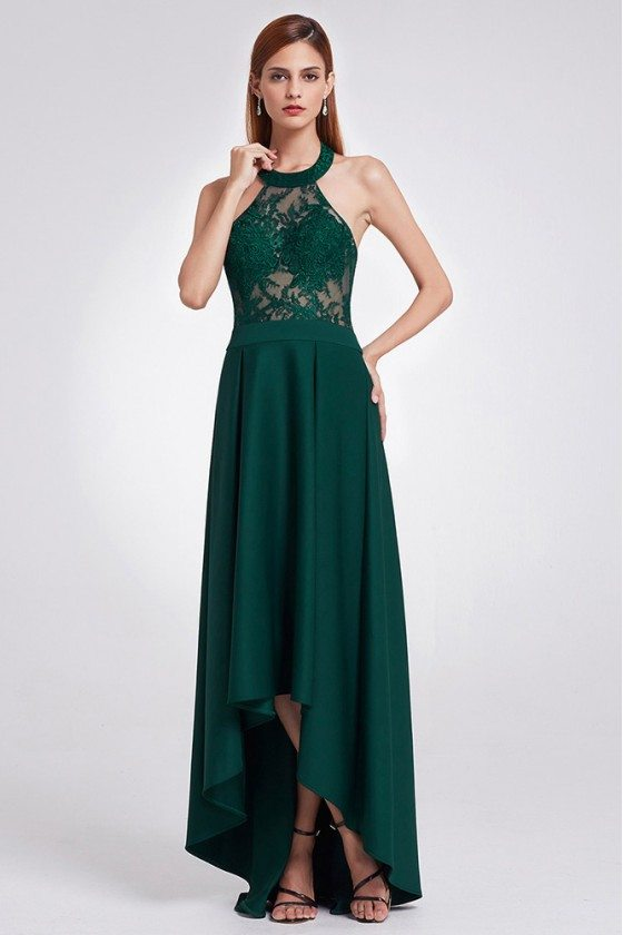 Elegant Halter Green Lace Evening Dress High Low Length