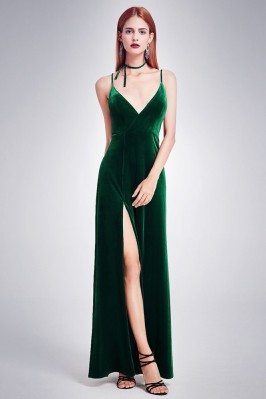 Long Slit Dark Green Velvet...