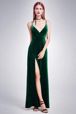 Long Slit Dark Green Velvet...