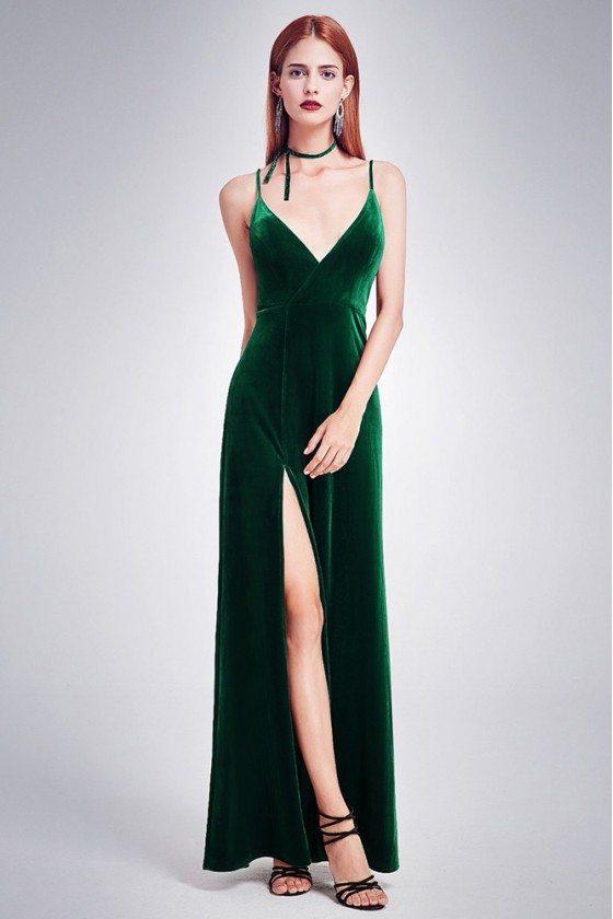 Long Slit Dark Green Velvet Formal Gown Spaghetti Straps - EP07181DG