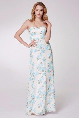 Strapless Blue Floral Print...