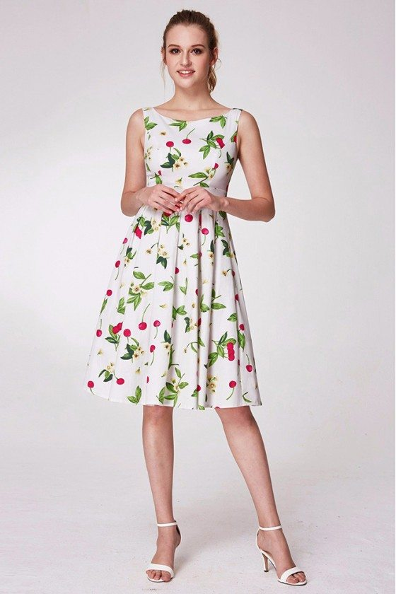 Beautiful Floral Print Green Prom Dress In Knee Length