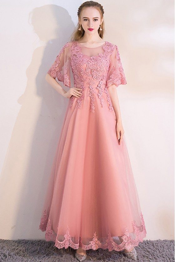 Pink Aline Long Party Dress with Appliques Puffy Sleeves - MXL86046