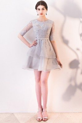 Grey Lace Ruffled Short Homecoming Dress Aline with Sleeves - MXL86074