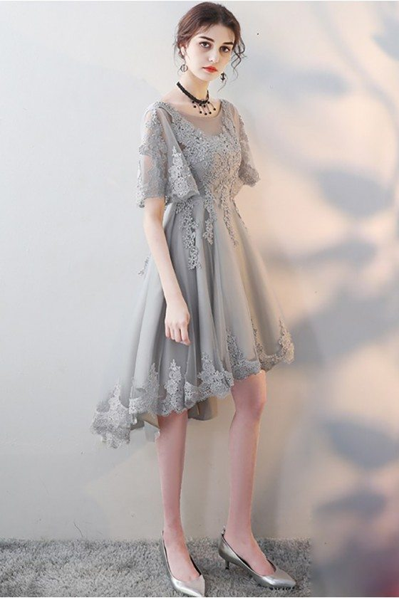 Elegant Grey Lace Homecoming Party Dress with Lace Sleeves - MXL86001