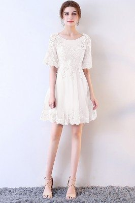 Short White Lace Aline...