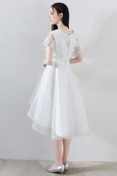 Gorgeous White Tulle Homecoming Dress High Low with Big Bow - MXL86059