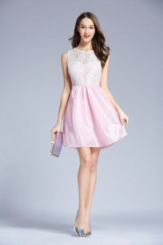 Pink Lace Taffeta Short Party Dress Onsale