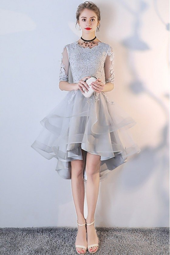 Grey Lace Sleeved Homecoming Prom Dress with Ruffles