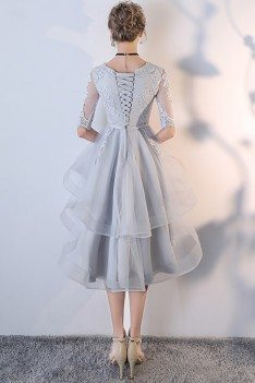 Grey Lace Sleeved Homecoming Prom Dress with Ruffles - MXL86018