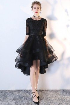 Black Tulle Homecoming Prom Dress with Lace Sleeves - MXL86007