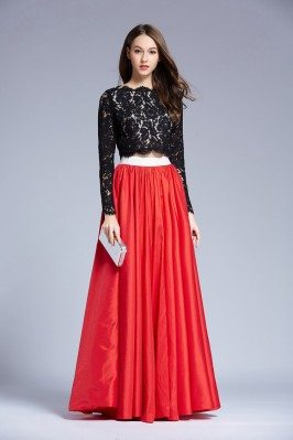 Lace Long Sleeve Two Piece Taffeta Prom Dress