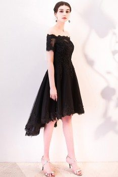 Black Lace Off Shoulder Homecoming Dress High Low with Sleeves - MXL86060
