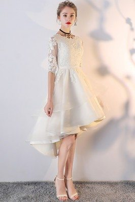 Light Champagne Lace Ruffled Homecoming Party Dress with Sleeves - MXL86034