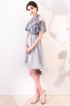 Cute Grey Cold Shoulder Homecoming Dress with Flowers - MXL86020