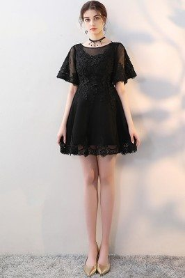 Little Black Aline Lace Homecoming Dress with Sleeves - MXL86013