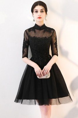 Little Black Lace Collar Homecoming Dress with Sheer Sleeves - MXL86057