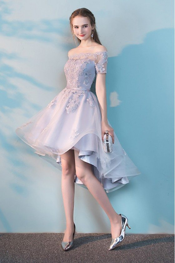 Grey High Low Off Shoulder Homecoming Dress with Lace - MXL86021