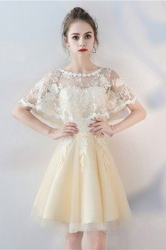 Champagne Tulle Short Party Dress with Lace Cape Sleeves - BLS86063