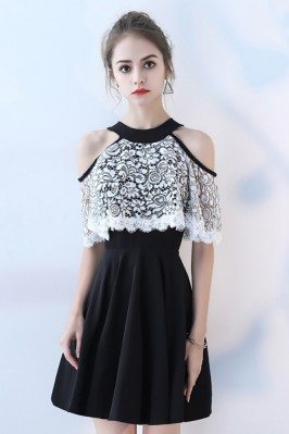 Black with White Lace Short...