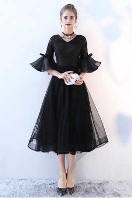 Lace Vneck Tulle Black Homecoming Dress with Trumpet Sleeves - BLS86040